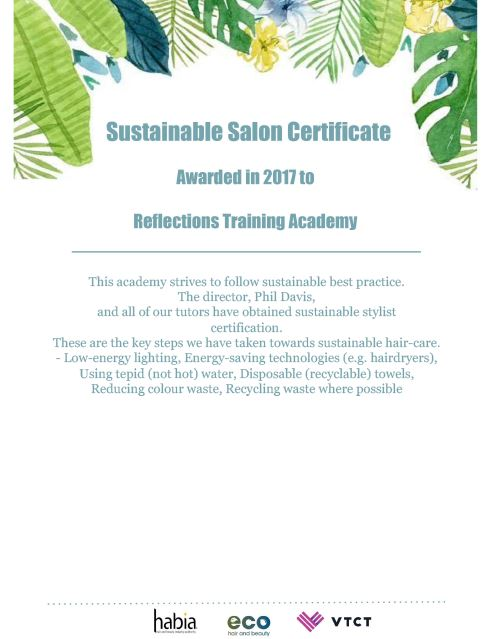 Sustainable Salon Certificate